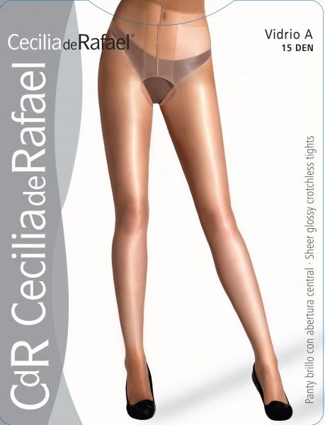 Cecilia de Rafael Vidrio A - Glänzende Strumpfhose mit offenem Schritt, 15 DEN