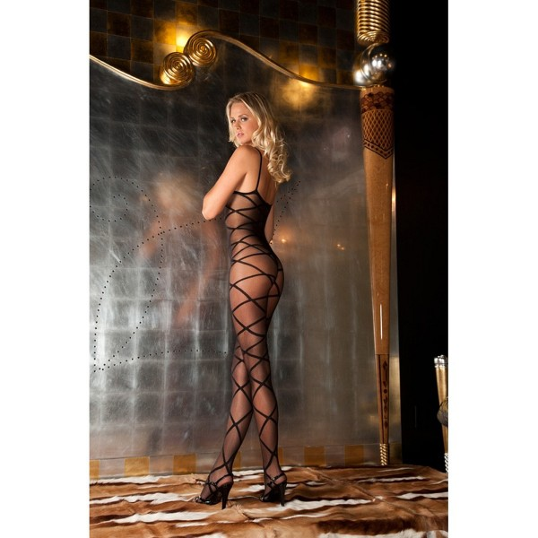 Bodystocking Muster geschnürt Strapped up sheer