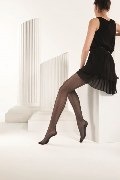 Omero Audrey - Zeitlos elegante Feinstrumpfhose mit schwarzer Naht und Hochferse