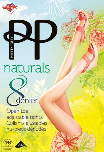Pretty Polly - Hauchdünne Feinstrumpfhose ohne Fußspitze Naturals 8 DEN