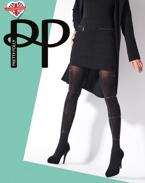 Pretty Polly Strappy Print Tights - Blickdichte Strumpfhose mit raffiniertem Muster in Bondageoptik