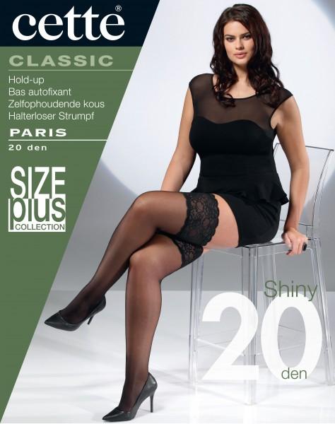 Cette Size Plus Collection - Seidig glänzende halterlose Strümpfe in Übergrößen Paris