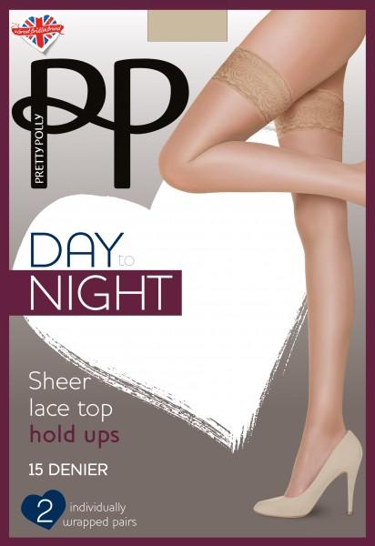 Pretty Polly Day to Night - 2 Paar klassiche halterlose Strümpfe mit Spitzenabschluss