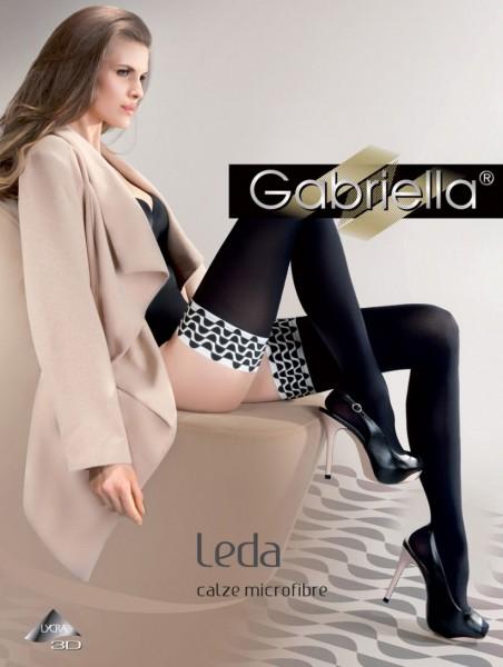 Gabriella Leda - Blickdichte halterlose Strümpfe mit Abschlussband in schwarz-weiß Optik