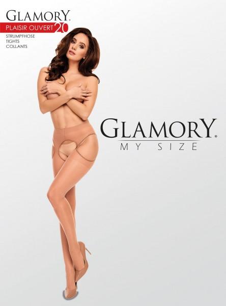 Glamory Plaisir Ouvert 20 - Transparente Straps-Strumpfhose in Übergrößen