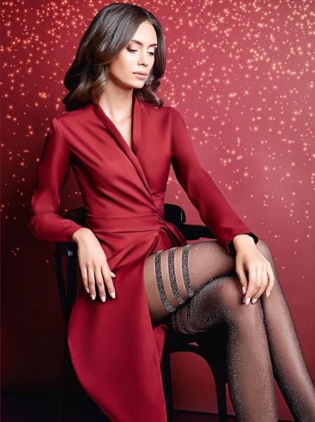 Giulia - Transparente Feinstrumpfhose mit verführerischer Strumpfoptik und glamourösem Lurex-Effekt
