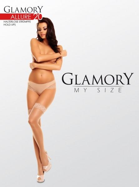 Glamory Allure 20 - Glänzende halterlose Strümpfe in Übergrößen